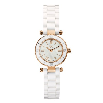 GC GUESS COLLECTION PINK GOLD WHITE CERAMIC LADIES WATCH