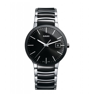RADO CENTRIX BLACK DIAL STAINLESS STEEL AND BLACK CERAMIC MEN'S WATCH