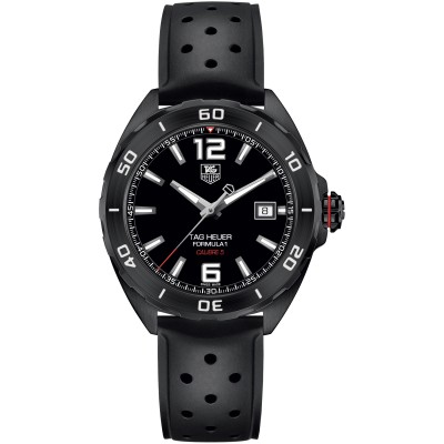 TAG HEUER FORMULA 1 AUTOMATIC BLACK DIAL BLACK RUBBER MEN'S WATCH